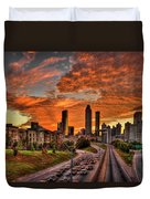 Atlanta Orange Clouds Sunset Capital Of The South Duvet Cover