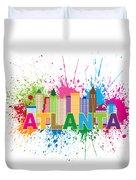 Atlanta Skyline Paint Splatter Text Illustration Duvet Cover