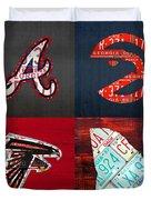 Atlanta Sports Fan Recycled Vintage Georgia License Plate Art Braves Hawks Falcons Plus State Map Duvet Cover