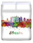 Atlanta V2 Skyline In Watercolor Duvet Cover