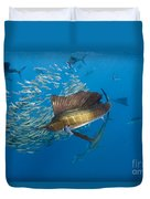 Atlantic Sailfish Hunting Duvet Cover
