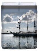 Atlantis - A Three Masts Vessel In Port Mahon Crystaline Water Duvet Cover