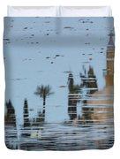 Atmospheric Hala Sultan Tekke Reflection At Larnaca Salt Lake Duvet Cover