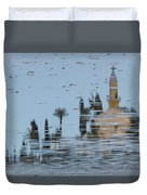 Atmospheric Hala Sultan Tekke Reflection At Larnaca Salt Lake Duvet Cover