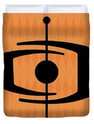 Atomic Shape 1 On Orange Duvet Cover