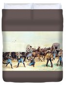 Attack On The Supply Train 1885 Duvet Cover