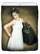 Attractive Young 1950s Woman Ready For Travel Tour Duvet Cover