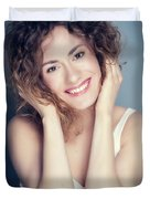 Attractive Young Woman Touching Her Hair And Face. Duvet Cover