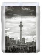 Auckland New Zealand Sky Tower Bw Texture Duvet Cover
