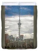 Auckland New Zealand Sky Tower Textured Duvet Cover