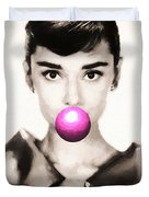 Audrey Hepburn Bubblegum Duvet Cover