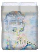 Audrey Hepburn - Watercolor Portrait.16 Duvet Cover