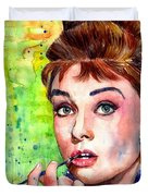 Audrey Hepburn Watercolor Duvet Cover