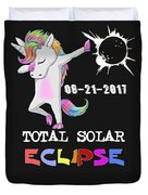 August 21 Solar Total Eclipse Funny Dabbing Unicorn Duvet Cover
