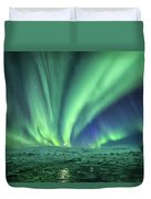 Aurora At Glacier Lagoon Duvet Cover