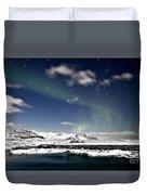 Aurora At Glacier Lagoon Duvet Cover