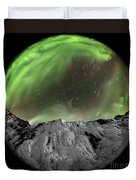 Aurora Borealis Over Iceland, Fisheye Duvet Cover
