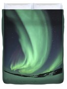 Aurora Borealis Over Prosperous Lake Duvet Cover