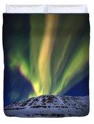 Aurora Borealis Over Toviktinden Duvet Cover