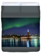 Aurora Over The Stockholm City Hall And Kungsholmen Duvet Cover