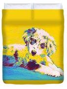 Aussie Puppy-yellow Duvet Cover by Jane Schnetlage