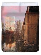 Austin Hike And Bike Trail - Train Trestle 1 Sunset Triptych Middle Duvet Cover