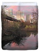 Austin Hike And Bike Trail - Train Trestle 1 Sunset Triptych Right Duvet Cover