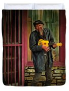 Austin Musician Plays The Blues Duvet Cover