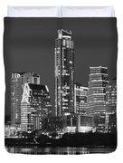 Austin Skyline At Night Black And White Bw Panorama Texas Duvet Cover
