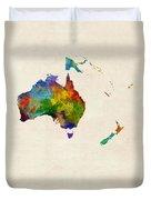 Australia Continent Watercolor Map Duvet Cover