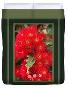 Australian Red Eucalyptus Flowers With Design Duvet Cover