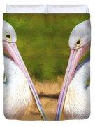 Australian White Pelicans Duvet Cover