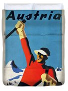 Austria Ski Tourism - Vintage Poster Folded Duvet Cover