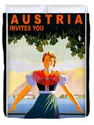 Austria, Young Woman In Traditional Dress Invites You, Danube River Duvet Cover