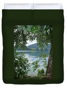Austrian Lake Through The Trees Duvet Cover