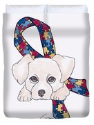 Autism Awareness And Puppy Love Duvet Cover
