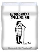 Autocorrect Spelling Bee Duvet Cover by Drew Dernavich