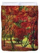 Autum Red Woodlands Painting Duvet Cover