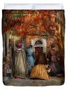 Autumn - People - A Walk Downtown  Duvet Cover