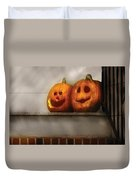 Autumn - Pumpkins - Two Goofy Pumpkins Duvet Cover