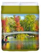 Autumn At Bow Bridge Central Park Duvet Cover