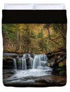 Autumn At Dunloup Creek Falls Duvet Cover