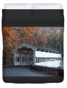 Autumn At Knox Covered Bridge In Valley Forge Duvet Cover by Bill Cannon