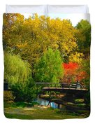 Autumn At Lafayette Park Bridge Landscape Duvet Cover