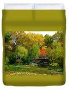 Autumn At Lafayette Park Bridge Landscape Duvet Cover