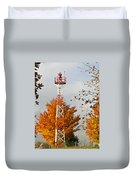 Autumn At The Airport Light Tower Duvet Cover