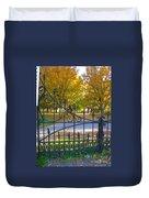 Autumn At The Gates Of Lafayette Park Portrait Duvet Cover