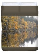 Autumn Birches On The Shore Of Lake Duvet Cover
