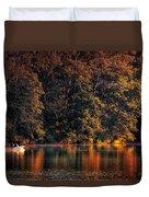 Autumn Boating At Argyle Lake Duvet Cover