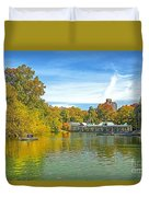 Autumn Central Park Lake And Boathouse Duvet Cover